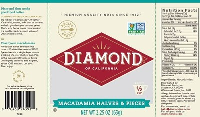 Diamond of California(R) Macadamia Halves and Pieces 2.25oz packages