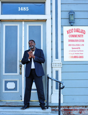 Kevin Skipper of Bay Property Group (pictured here in front of Liberty Hall in West Oakland) represented the buyers of the national historic landmark. Built in 1877, Liberty Hall has a significant history of service in the Oakland community and has been used by African-American organizations for more than 100 years.  (PRNewsFoto/Bay Property Group)