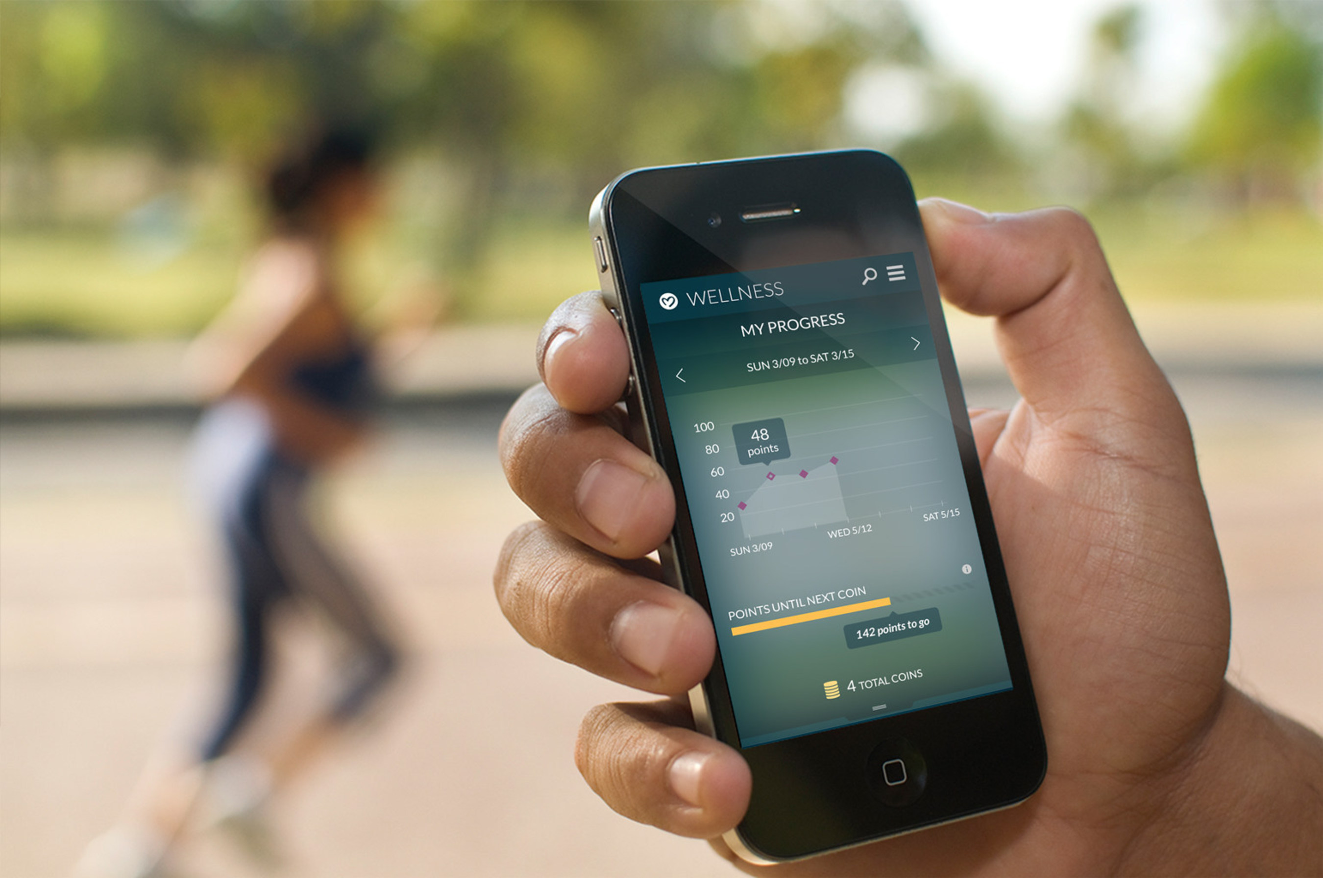 The Maxwell Health mobile app integrates with leading fitness devices so employees can track their fitness and employers can reward healthy behavior.
