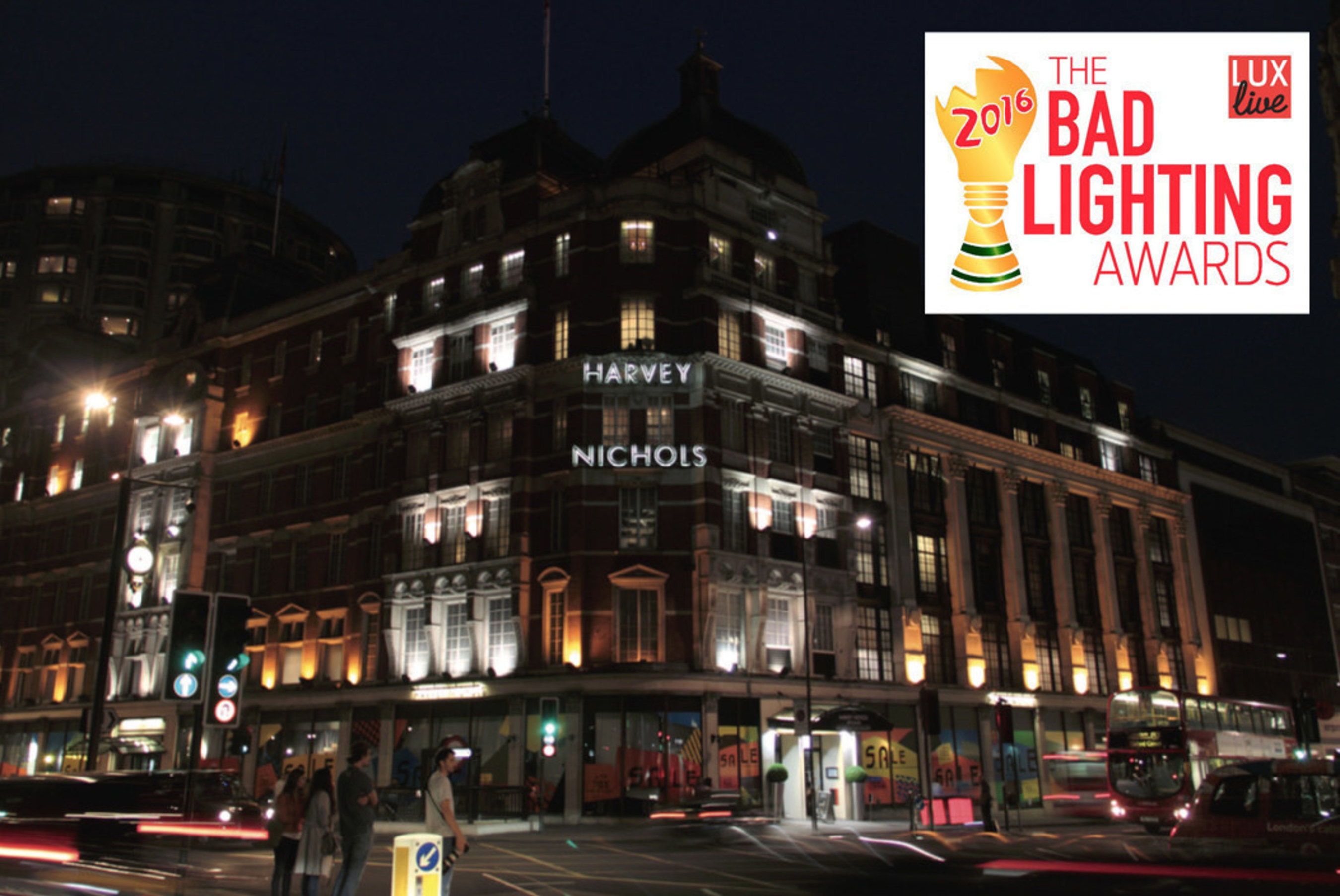 Harvey Nichols department store in London's West End was the 2015 winner of the Bad Lighting Awards.