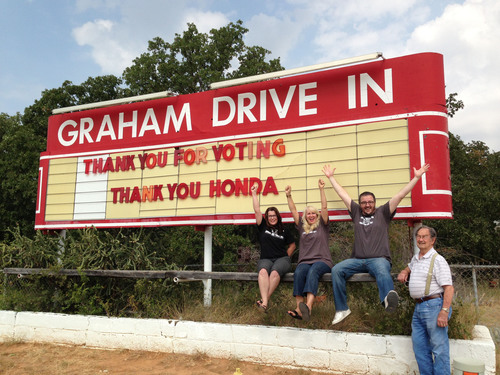Graham Drive-In, Graham Texas won't go dark, thanks to Honda and Project Drive-In.  (PRNewsFoto/Honda)
