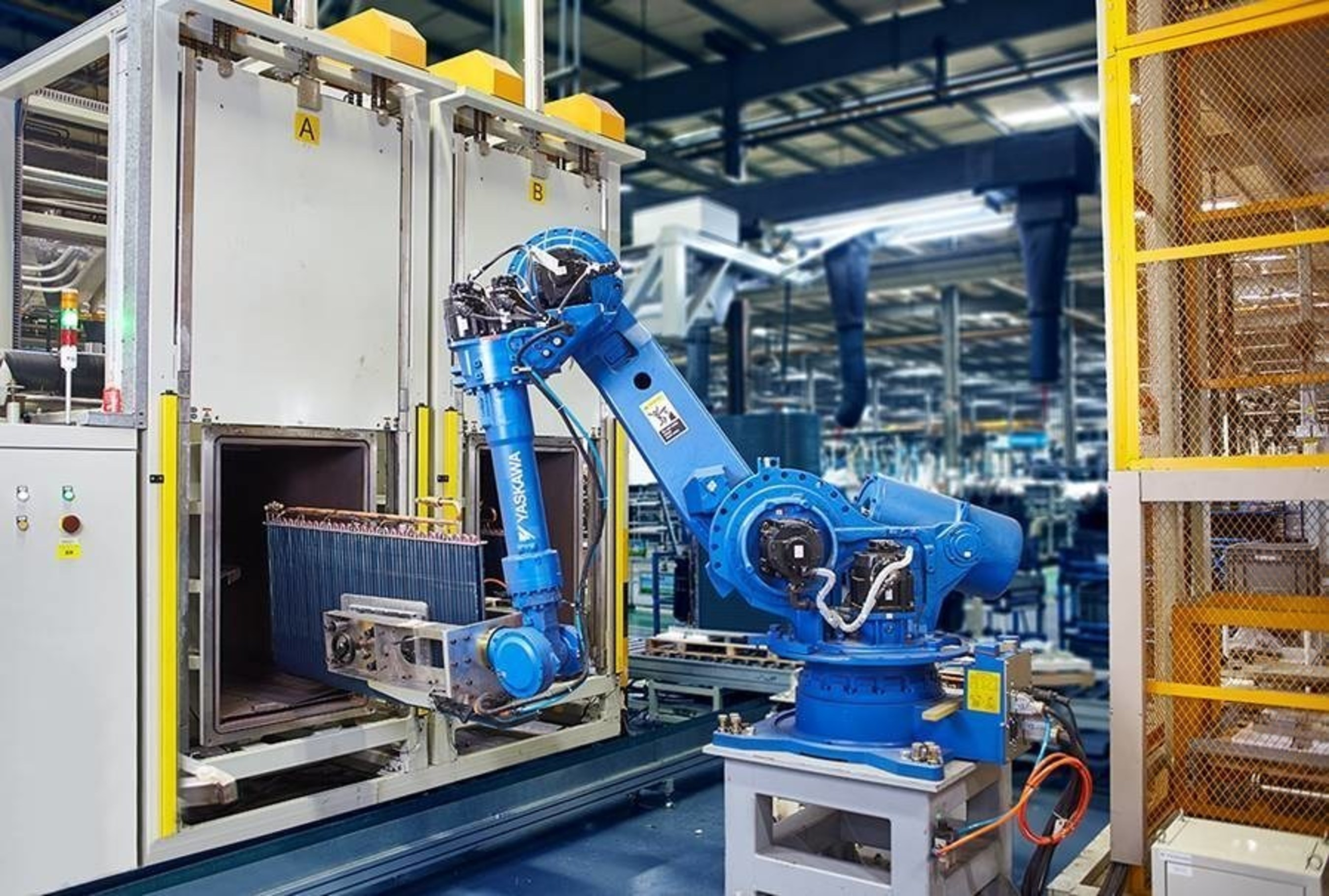 Midea achieved four percent worker-machine ratio by deploying more than 800 robots in all production bases for ...