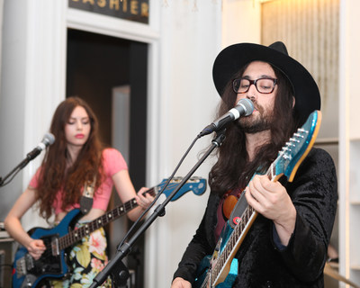 Charlotte Kemp Muhl and Sean Lennon of GOASTT performing at the Club Monaco 5th Avenue Anniversary Event