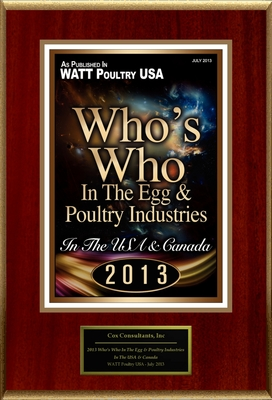 "Cox Consultants, Inc Selected For ""2013 Who's Who In The Egg & Poultry Industries"""