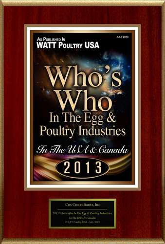 """Cox Consultants, Inc Selected For """"2013 Who's Who In The Egg & Poultry Industries"""" (PRNewsFoto/Cox Consultants, Inc )"""