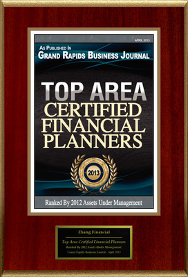 "Zhang Financial Selected For ""Top Area Certified Financial Planners"".  (PRNewsFoto/Zhang Financial)"