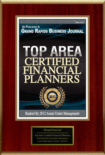 """Zhang Financial Selected For """"Top Area Certified Financial Planners"""". (PRNewsFoto/Zhang Financial) ..."""