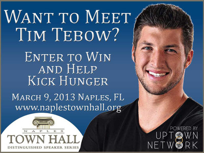 Naples Town Hall Tim Tebow Event To Provide 100,000 Meals To Help Kick Hunger.  (PRNewsFoto/Uptown Network)