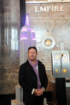 Lupus Foundation of America Global Ambassador Julian Lennon lights the Empire State Building purple for lupus awareness. (PRNewsFoto/Lupus Foundation of America)