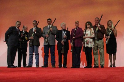 Local heroes honored by Henry Repeating Arms during 2016 National NRA Foundation Banquet in Louisville, KY.  L to R: Anthony Imperato, President of Henry Repeating Arms, with Honorees Bill Wester, Dylan Dorris, Scott Perkins, Jack Thompson, M.J. Vowell, Debbie Green, Charles Green and Cheryl Benitaz Metcalf.