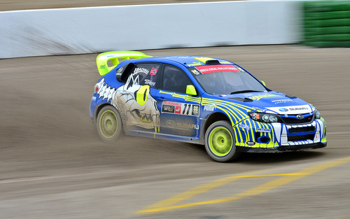 Subaru PUMA RallyCross Team Driver Isachsen Slammed out of Fourth Place Finish at X Games Munich RallyCross on Final Lap.  (PRNewsFoto/Subaru of America, Inc.)