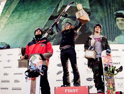 2012 Burton US Open Snowboarding Championships Men's Podium.  (PRNewsFoto/Burton)