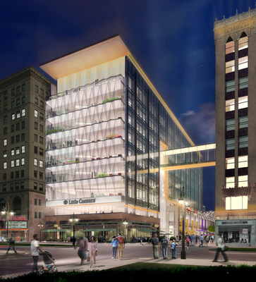 With groundbreaking expected this summer, the new, 234,000 square foot, nine-story Little Caesars(R) world headquarters will feature a first-of-its kind, formed-glass facade and be Detroit's first newly constructed corporate headquarters building in more than a decade. Located in the heart of $1.2 billion The District Detroit project's Columbia Street neighborhood, construction of the new Little Caesars Global Resource Center is being led by Detroit-based construction manager Brinker-Christman. The impressive formed-glass exterior made up of 14-foot tall, pizza slice shaped glass pays homage to the company's signature product.