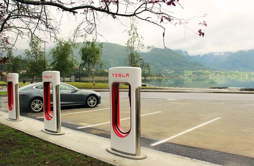 Tesla Supercharger in Sandane, Norway