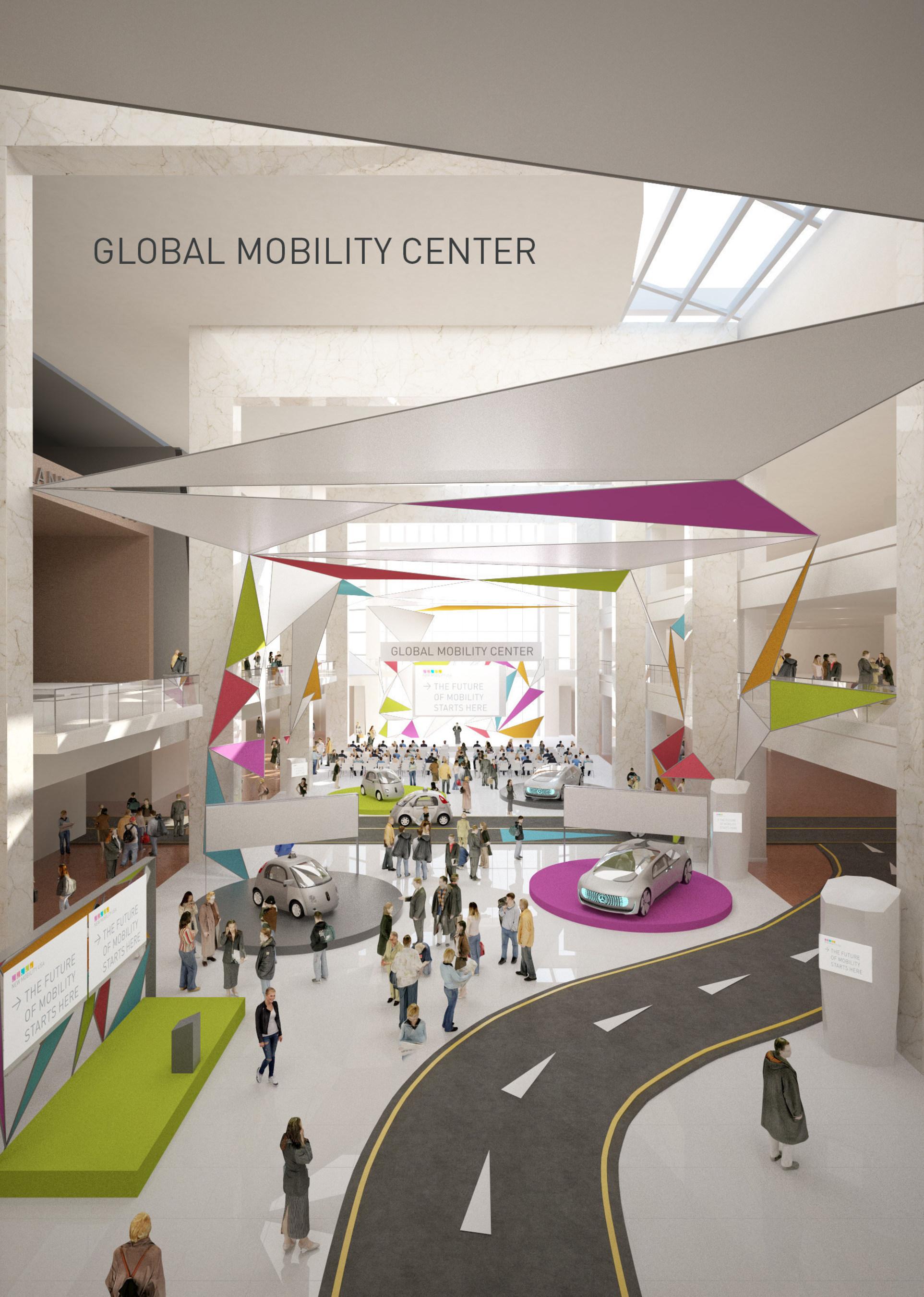 AutoMobili-D rendering in Cobo Hall Atrium.