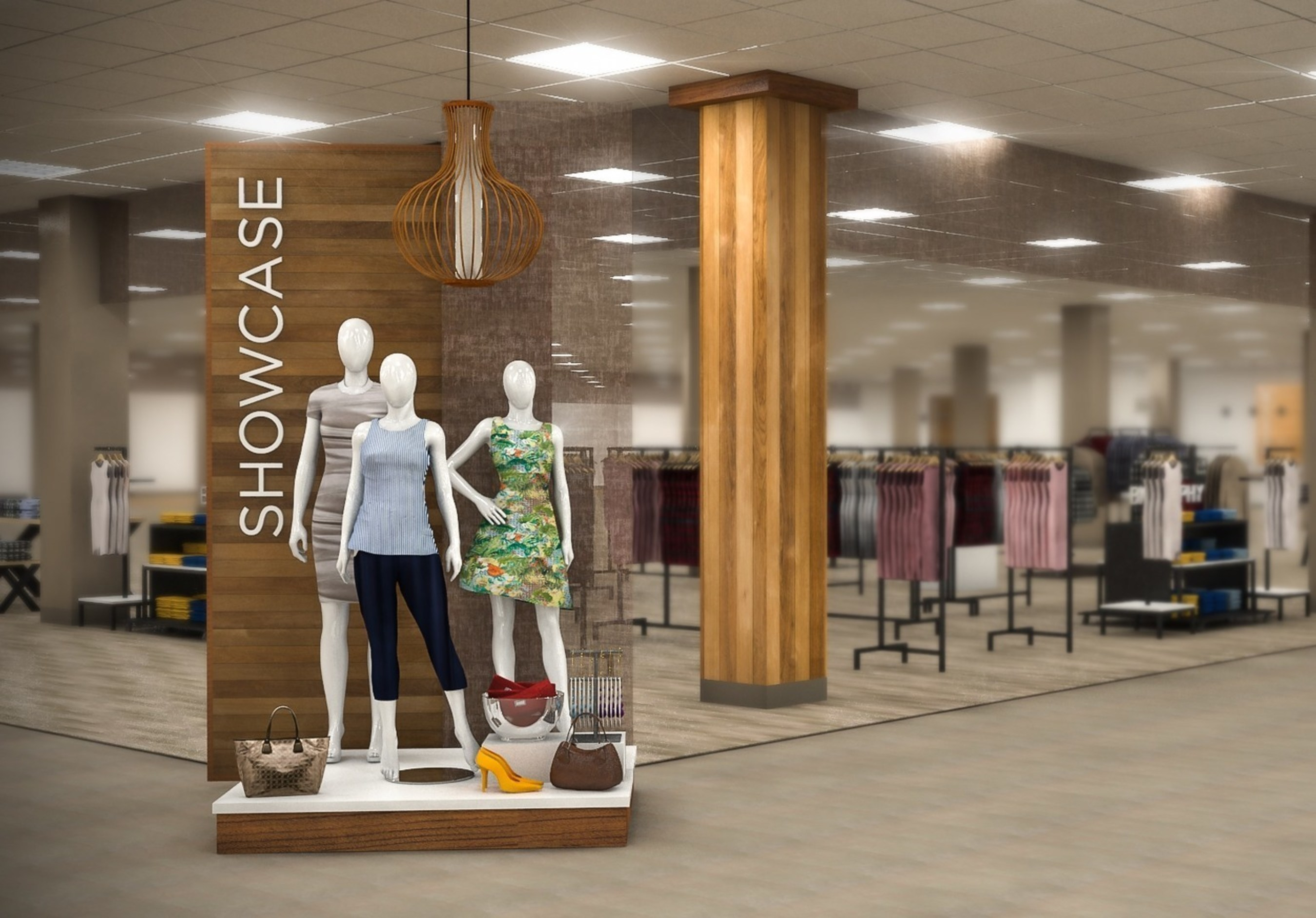 """Sears is elevating its apparel offerings with the planned launch of """"Showcase at Sears,"""" a unique shop-in-shop experience that gives members and customers an exclusive opportunity to shop more than 10 of Europe and Latin America's hottest international apparel brands - most available for the first time in the United States. This rendering depicts the inviting shopping environment inspired by understated elegance, using natural textures that will entice members and customers to explore the Showcase."""
