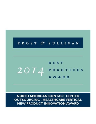 2014 North American Contact Center Outsourcing - Healthcare Vertical New Product Innovation Award (PRNewsFoto/Frost & Sullivan)