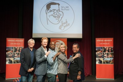 Left to right: Doug McIntyre, Jonathan Mangum, Gary Anthony Williams, Heather Anne Campbell, David Sonne (Administrator of the Jack Oakie and Victoria Horne Oakie Scholarship) Photographer: Rich Prugh