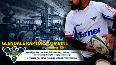 Rugby players 18 and older will have an opportunity to showcase their skills and athleticism as Glendale Raptors Rugby takes its first steps into the professional rugby arena November 13, 2016 at Infinity Park in Glendale, CO.