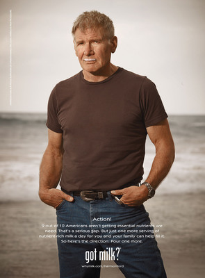 """Harrison Ford Appears in the Latest Ad for the National Milk Mustache """"got milk?®"""" Campaign"""