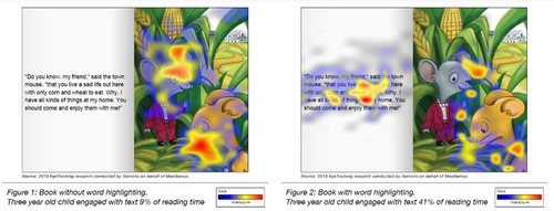 A side-by-side comparison of what images and text most hold a child's gaze while being read to by an adult ...