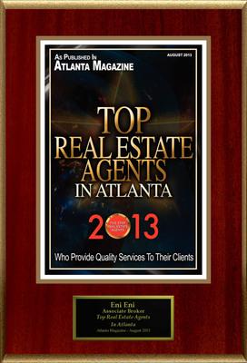 "Eni Eni Selected For ""Top Real Estate Agents In Atlanta"". (PRNewsFoto/American Registry) (PRNewsFoto/AMERICAN REGISTRY)"
