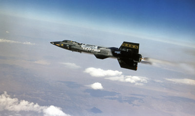 X-15 rocket plane program flew from 1958 to 1968 for199 flights, including binders of research, and an official record of speed at Mach 6.7, or more than 4,500 mph, and an unofficial altitude record at the edge of space at 67 miles, or 354,200 feet.