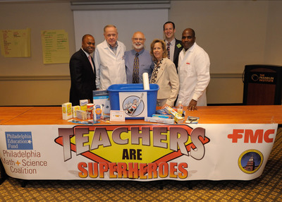 From Left:  Frederic Bertley, Ph D., Sr. Vice President of Franklin Institute, Don McKinney, Math Science Coalition Coordinator, Frank Champine, retired Neshaminy science teacher, Barbara Del Duke, FMC Public Affairs, Matt VanKouwenberg, educator at Science Leadership Academy, and Rich White, FMC visiting chemist, announce FMC's science teacher supply drive to spur students' curiosity.  (PRNewsFoto/FMC Corporation)