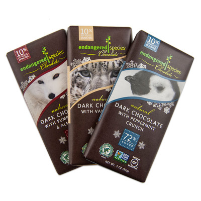 Endangered Species Chocolate's Holiday Bar Line.  (PRNewsFoto/Endangered Species Chocolate)