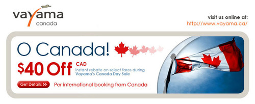 Vayama Announces 'Vayama.ca', Their New Canadian Based International Travel Website, Offering $40