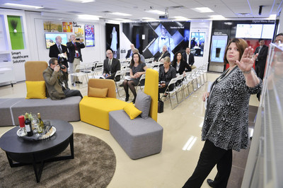 LG Electronics USA Go-To-Market Director Lorie Quillin-Bell provides media with a tour of the brand-new Innovation Briefing Center, one of nine such centers worldwide, at the grand opening of the LG Electronics USA Air Conditioning Systems headquarters on Wednesday, November 11, 2015 in Alpharetta, GA. (Photo by John Amis/AP Images for LG Electronics USA)