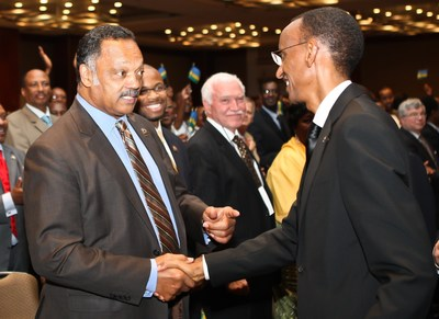 Rwanda President Paul Kagame greets Rev Jesse Jackson during Rwanda Day event in Chicago - 11 June 2011 (PRNewsFoto/KT Press)
