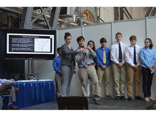 Members of the Danbury High School STEM Challenge team deliver their presentation to the selection committee. ...