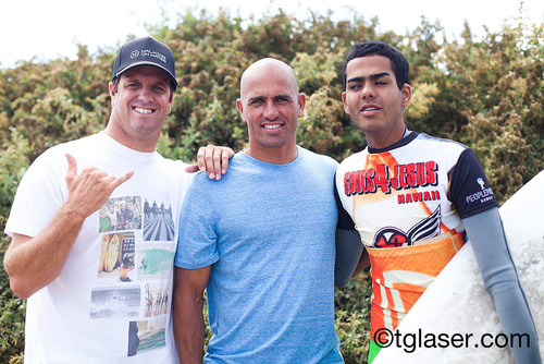 Bryan Jennings, Kelly Slater and Derek Rabelo at Lower Trestles in Southern California.  (PRNewsFoto/Walking On Water)