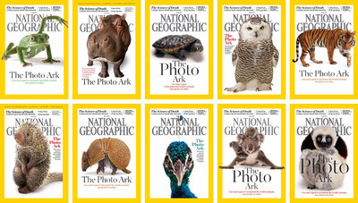 National Geographic magazine's April 2016 issue features 10 different covers for the first time in the publication's history. The multiple covers, featuring portraits of different species, celebrate photographer Joel Sartore's Photo Ark project, a multiyear effort to photograph all captive species and inspire people to save these animals before they disappear. Once completed, Photo Ark will serve as an important record of each animal's existence and a powerful testament to the importance of saving them. The feature is available online now at natgeo.com/animalquiz.