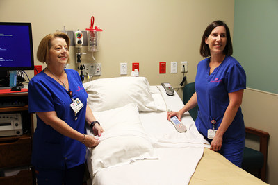 From left to right:  Sandra Schrader, RNC-OB and Jennifer Cook, BSN began seeing patients today in the newly expanded Maternal Assessment Center.