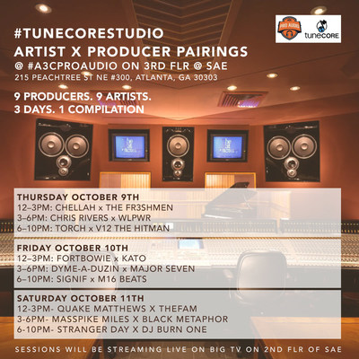 TuneCore's #TuneCoreStudio at #A3CProAudio pairs top producer with hot independent hip-hop artist to create an entirely new track in just three hours - witness the action at the A3C Festival in Atlanta, October 9 - 11, 2014 (PRNewsFoto/TuneCore)