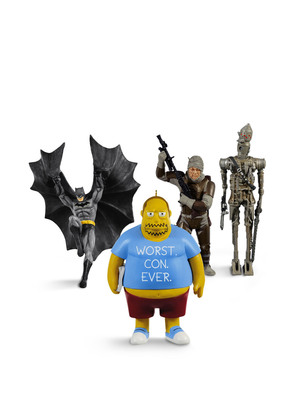 "Star Wars' IG-88 and Dengar, the Comic Book Guy from ""The Simpsons,"" and Descending Upon Gotham (Batman) are the select Hallmark Keepsake Ornaments that will be sold exclusively at Comic-Con International July 21 - 24 in San Diego, Calif. A limited quantity of these Comic-Con-exclusive Keepsake Ornaments will be sold.  (PRNewsFoto/Hallmark Cards, Inc.)"