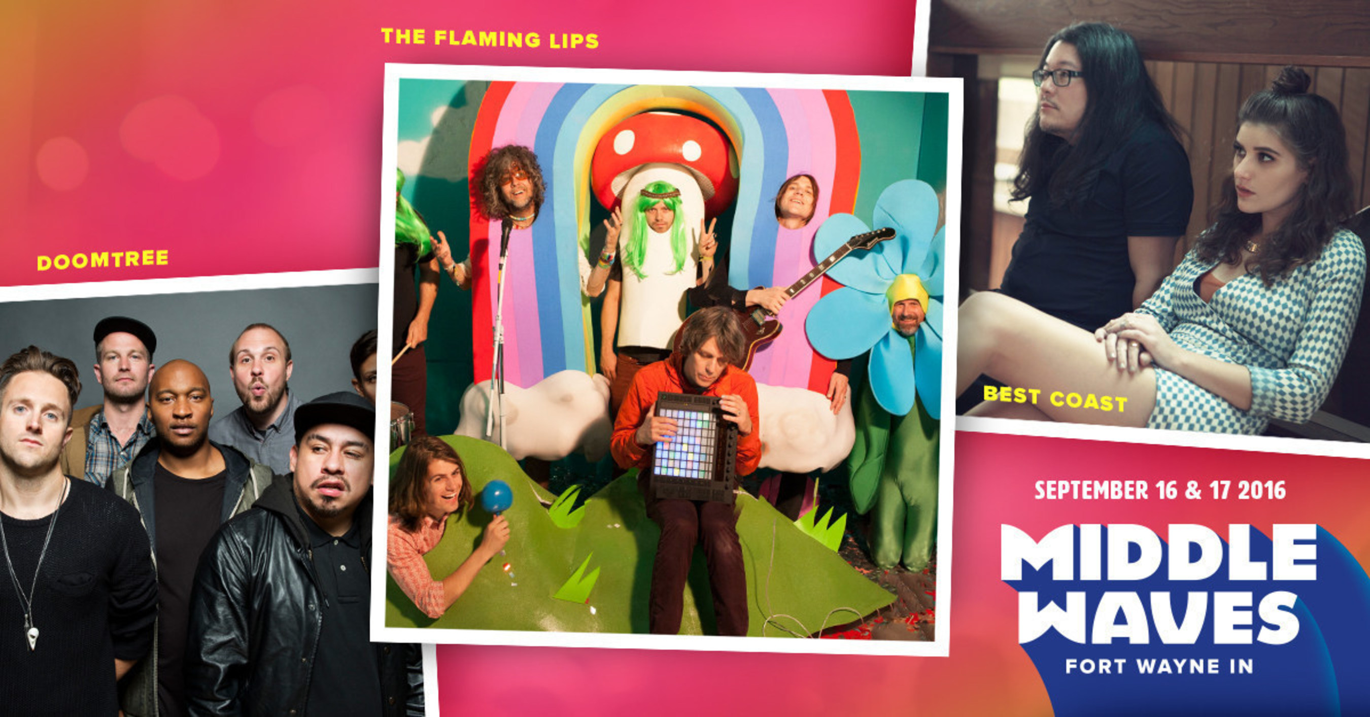 The Flaming Lips, Best Coast and 20 more live acts--Middle Waves is your favorite new fest!Middle Waves, Indiana's first-ever destination music festival, will take place on the St. Marys riverfront in downtown Fort Wayne's Headwaters Park on Friday and Saturday, September 16 and 17th, 2016. The all-ages festival will include two free community stages, interactive river and art activities, local food trucks and vendors, artists, culture-makers, VIP experiences, and more. For more information or to...