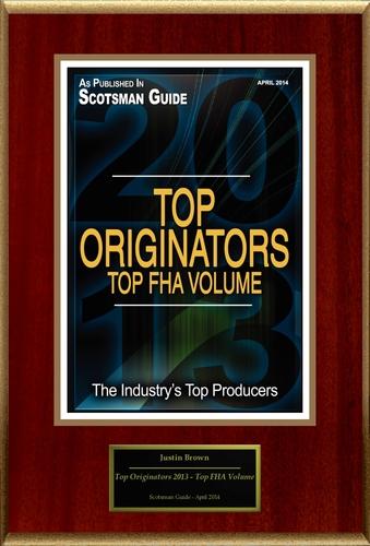 "Justin Brown Selected For ""Top Originators 2013 - Top FHA Volume"" (PRNewsFoto/American Registry )"