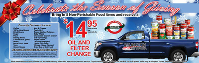 Arlington Toyota offers oil and filter change special with donation of five non-perishable items.