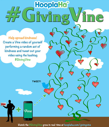 Help us grow the #GivingVine! Go to HooplaHa.com/GivingVine for more info.  (PRNewsFoto/Only Good News, LLC)