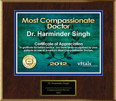 Patients Honor Dr. Harminder Singh for Compassion.  (PRNewsFoto/American Registry)