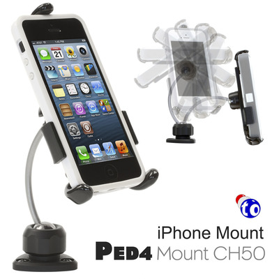 Asymmetrical double balled stainless steel shaft for the PED4 Mount CH50 creates a natural feel and flow with a mounted iPhone.  (PRNewsFoto/Thought Out Company)