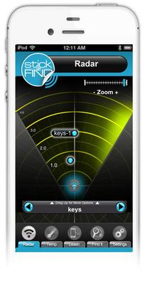 StickNFind mobile application.  (PRNewsFoto/Stick-N-Find Technologies)