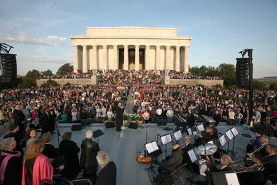 Capital Church Easter Sunrise Service at Lincoln Memorial.