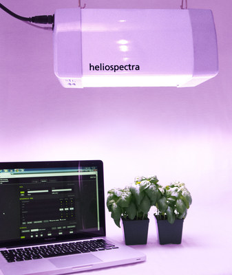 Heliospectra LED grow light system controlled via web interface optimizing plant growth to save up to 50% energy and growing better tasting, longer lasting plants
