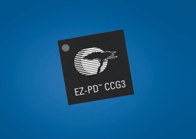 Pictured is Cypress Semiconductor's EZ-PD CGG3 controller for USB-C and Power Delivery. CCG3 offers an unparalleled level of integration that minimizes bill-of-material costs and simplifies designs, replacing multiple discrete components with a single-chip solution.