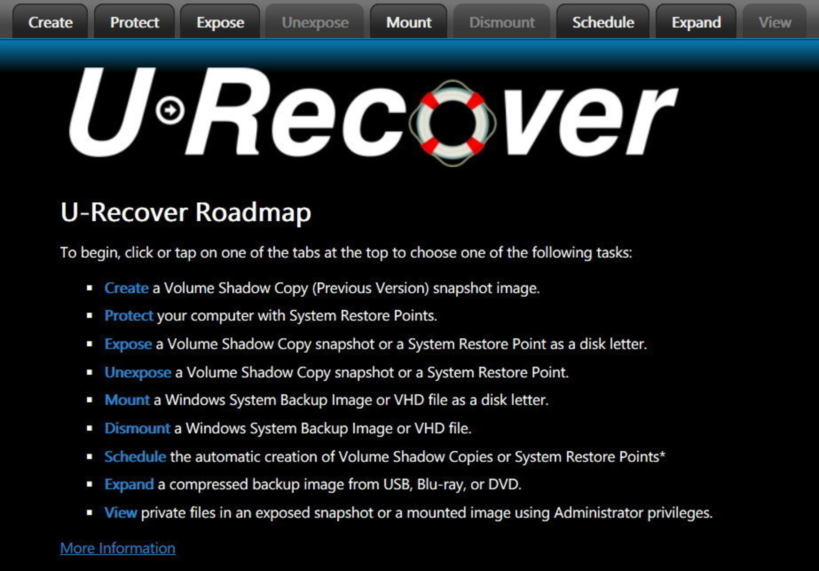 U-Recover application roadmap