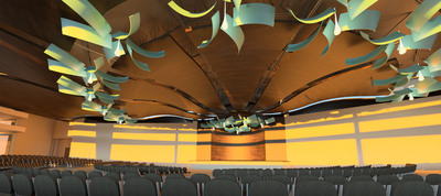 Armstrong Commercial Ceiling & Wall Systems, i2r Design Competition 'Idea' Winner: FM Solutions for Infusions(R) Pinwheel, an inventive use of Infusions Canopies and WoodWorks(R) ceiling products to represent 'Nature in Motion'.    (PRNewsFoto/Armstrong World Industries)